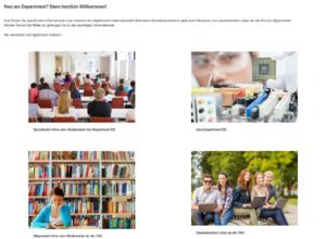 Screenshot, zeigt vier Kacheln, die verschiedene Informationsangebote repräsentieren