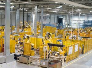 Fabrik mit Robotern
